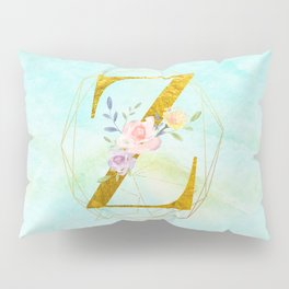 Gold Foil Alphabet Letter Z Initials Monogram Frame with a Gold Geometric Wreath Pillow Sham
