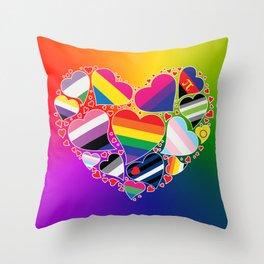 LGBTQA+ Community Pride Heart Throw Pillow