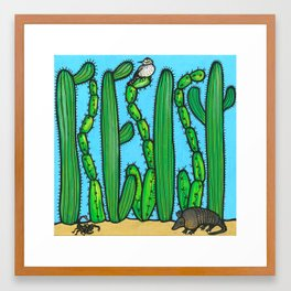 RESIST - armadillo, cactus wren, scorpion on THE WALL Framed Art Print