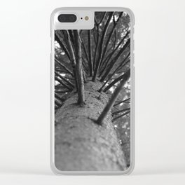 tree black and white photo Clear iPhone Case
