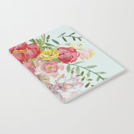 Bouquet of Spring Flowers Light Aqua Notebook
