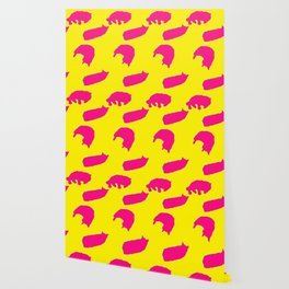 Sleeping cats pink on yellow Wallpaper