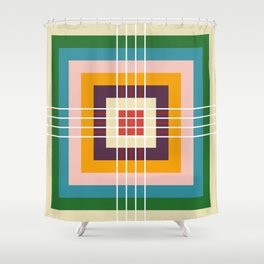 Retro Colored Abstract Shapes Shower Curtain