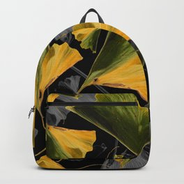 Yellow Ginkgo Leaves on Black Backpack