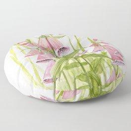 Pink Foxglove Botanical Garden Flower Floor Pillow