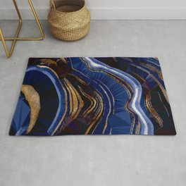 Blue Gold Marble Low Poly Geometric Triangle Art Rug