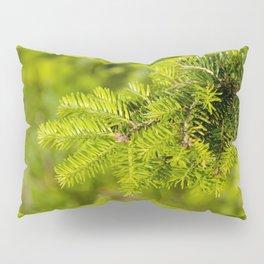Green coniferous fresh shoots detail Pillow Sham