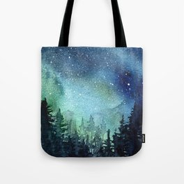 Galaxy Watercolor Aurora Borealis Painting Tote Bag