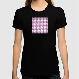Houndstooth design in bodacious and white T-shirt