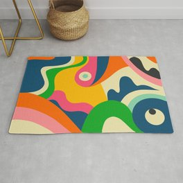 Colorful Mid Century Abstract  Rug