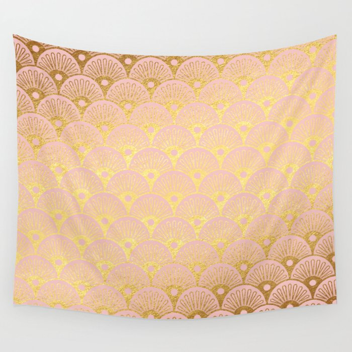 Gold and pink sparkling Mermaid pattern Wall Tapestry