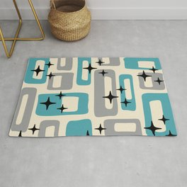 Retro Mid Century Modern Abstract Pattern 223 Blue and Gray Rug