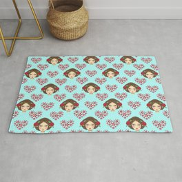 Beautiful faces of boho girl dolls pretty red floral hearts artistic romantic baby blue cute pattern Rug