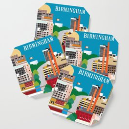 Birmingham, Alabama - Skyline Illustration by Loose Petals Coaster