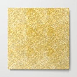 Abstract Brush Strokes, Mustard Yellow Metal Print