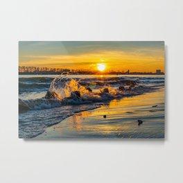 Elbe Hambourg Sea Sunset Beach Metal Print