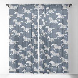 wild horses - denim blue Sheer Curtain