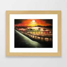 running at dusk 1 Framed Art Print
