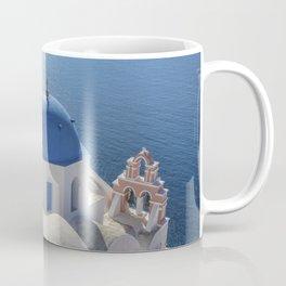 Santorini Island with churches and sea view in Greece Coffee Mug