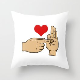 I Love S*x Hand Gesture Funny Adult Humor Shirt For Adults T-shirt Design Naughty Fuck Sex Vagina Throw Pillow