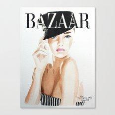 Harper's Bazaar Magazine Cover. Miranda Kerr. Fashion Illustration Canvas Print