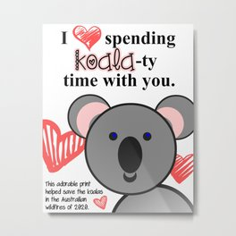 Save the Koalas - Koala-ty Time Print - Nursery/Kids' Room Metal Print