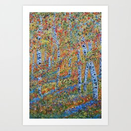 Aspen Trees, Birch Trees, Abstract Art, Landscape Painting Art Print