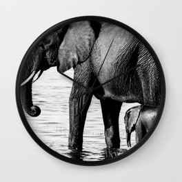 Mother and Baby Elephant Wall Clock