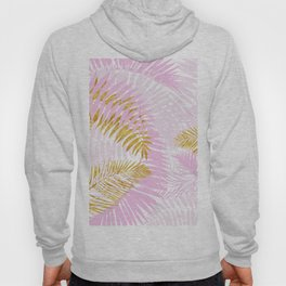 Aloha- Pink Tropical Palm Leaves and Gold Metal Foil Leaf Garden Hoody