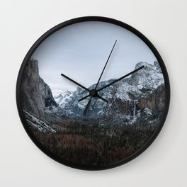 Snow in Yosemite Valley Wall Clock