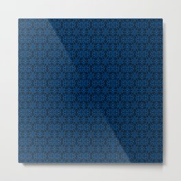 Lapis Blue Floral Metal Print