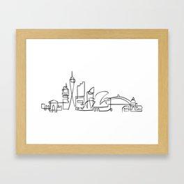 Sydney skyline in one stroke Framed Art Print