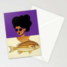 Postcard Fashion in Purple Stationery Cards