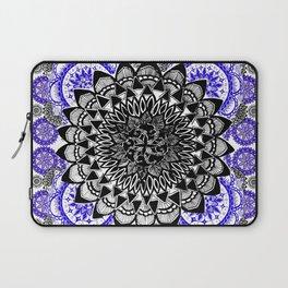 Blue and Black Patterned Mandala Laptop Sleeve