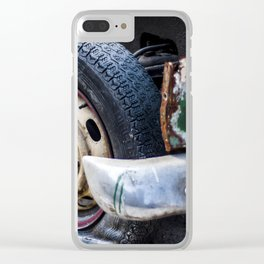 Flat tire on smashed vintage car Clear iPhone Case