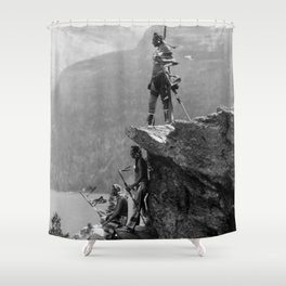 Eagle's Lookout, Blackfoot tribe members, Glacier Park, Montana, 1913 black and white photography Shower Curtain