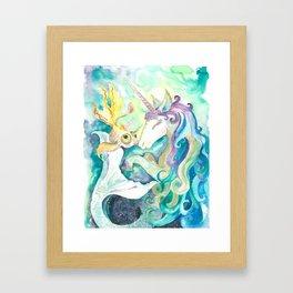 Kelpie unicorn and goldfish Framed Art Print