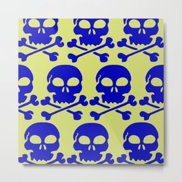 Skull Crazy- blue on green Metal Print