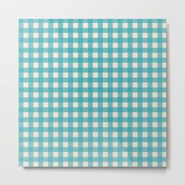 Buffalo Checked Plaid in Turquoise and Cream Metal Print