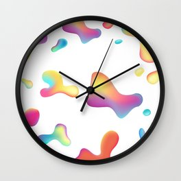 Abstract fluid colorful shapes composition. Wall Clock