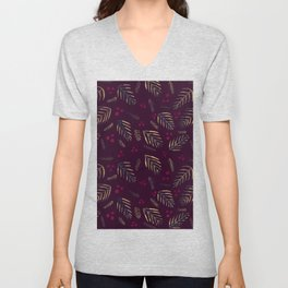 Christmas tree branches and berries - burgundy Unisex V-Neck