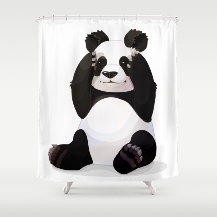 Cute Big Panda Bear Shower Curtain