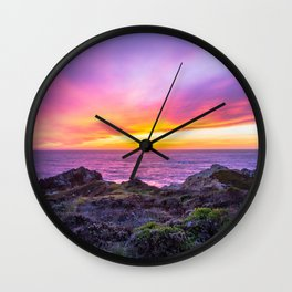 California Dreaming - Brilliant Sunset in Big Sur Wall Clock