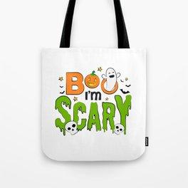 Boo I'm Scary Pumpkin Ghost Halloween Tote Bag