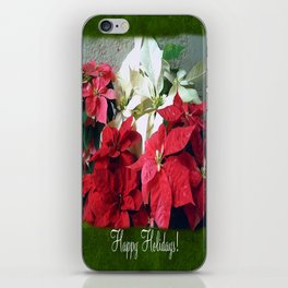Mixed color Poinsettias 3 Happy Holidays P1F1 iPhone Skin