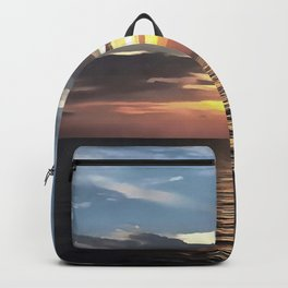 Pefect Living Coral Colored Ocean Sunrise Backpack