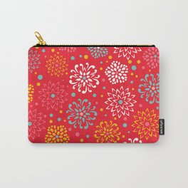Floral Pattern, Red Teal Yellow, Flowers Carry-All Pouch