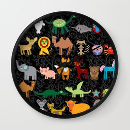 Set of funny cartoon animals character on  black seamless background. zoo. Wall Clock