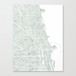 Map Chicago city watercolor map Canvas Print