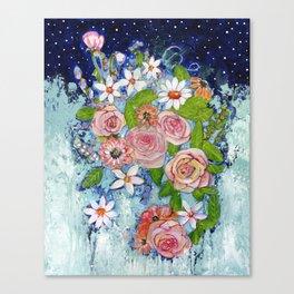 Celestial Sky Flower Garden Canvas Print